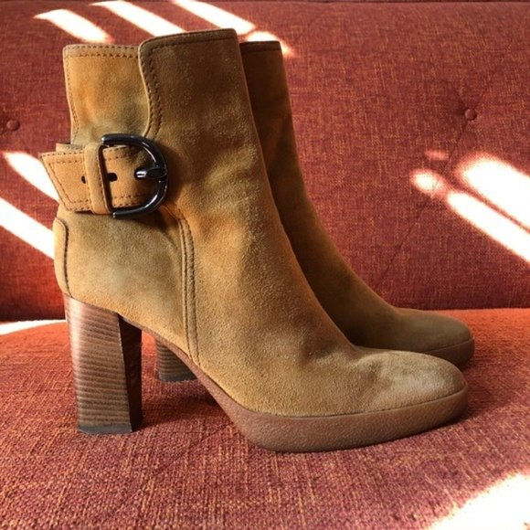 Tod's // Suede Buckle Ankle Boots